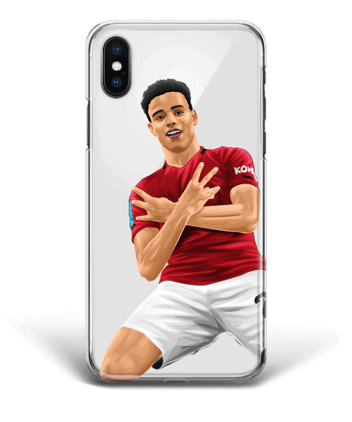 Mason Greenwood celebration on Manchester United vs Newcastle phone case design.